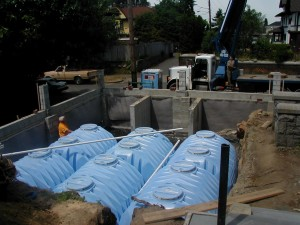 Rainwater storage SEATTLE. When the lawn gets installed  and grows, you would never know it is there!