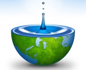 earth with water droplet